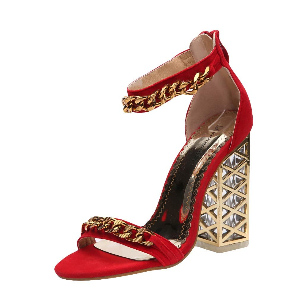 Nadition Luxury Sandals ❤️️ Women's Stylish Crystal Hollow Open Toe Shoes Fish Mouth High Heels Shoes -Formal, Wedding, Party Red