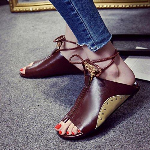 Moda Chanclas y Sandalias Mujer De Planas de Elegante Café Las Playa de Zapatos Zapatillas Cuero Sandalias Punta Bohemia Redonda Tobilleras ASHOP Bailarinas de Y Cordones Verano Cómodo R6wqdHHx
