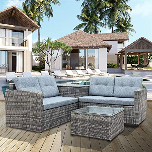 (4 Pcs Patio Sofa Set Outdoor Wicker Rattan Furniture Conversation Set with Storage Cabinet and Coffee Table for Garden Backyard Pool (Grey Cushion))