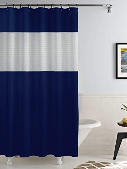 Story@Home PVC Waterproof Designer Bath Shower Bathroom Curtain 79 X 71 inches - Navy Blue, 12 Hooks