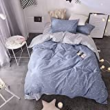 BuLuTu Space Constellation Kids Bedding Duvet Cover Set Twin Blue For Boys Girls,Reversible Premium Cotton Hotel Striped Bedroom Bedding Sets Twin Comforter Cover Zipper Closure,NO FILLING