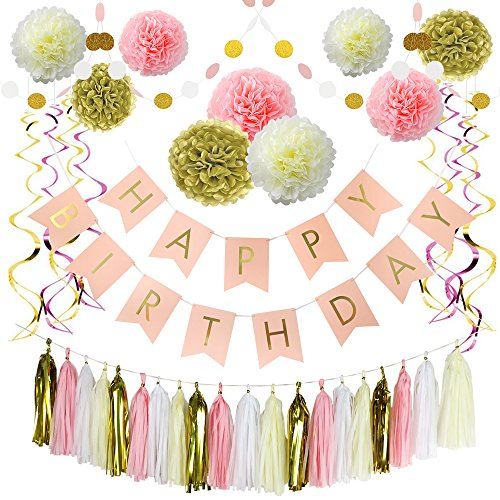 Birthday Garland - Litaus Pink and Gold Birthday Decorations, Happy Birthday Banner, Pom Poms Flowers, Paper Garland, Tassels, Hanging Swirl for 1 Birthday Decorations, Girls Birthday