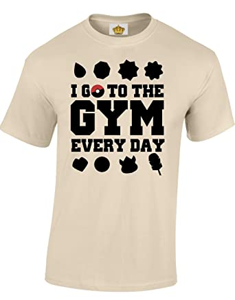 Designs by The Crown 'I Go to The Gym Everyday' Pokemon Inspired Gift for Men  & Teenagers T-Shirts Tops: Amazon.co.uk: Clothing