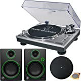 """Audio-Technica AT-LP120-USB Direct-Drive Professional Turntable in Silver w/ Mackie CR Series CR3 3"""" Creative Reference Multimedia Monitors (Pair)"""