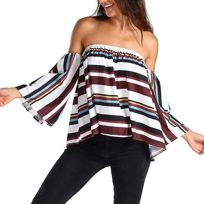 Camisas de mujer, Dragon868 Moda chica verano casual frío hombro franja manga corta blusa: Amazon.es: Ropa y accesorios