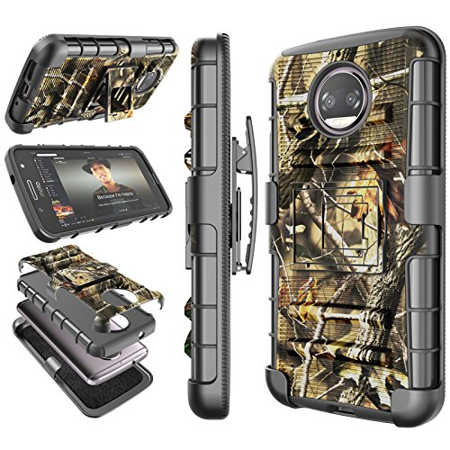Moto G5S Plus Case, 2017 Motorola Moto G5S Plus Holster Clip, Tekcoo [Hoplite] Shock Absorbing [Camo Leaf] Swivel Locking Belt Defender Heavy Full Body Kickstand Carrying Armor Camouflage Cases Cover