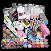 42 Acrylic Powder Liquid Brush Glitter Clipper Primer File Nail Art Tips Set Kit (6)