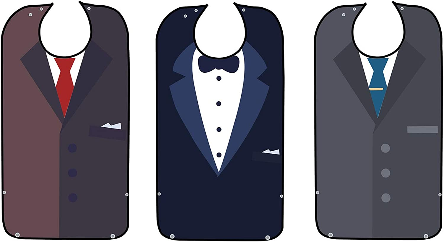 """3 Pack Adult Bib For Eating-Bow Tie Design-Washable And Reusable Clothing Protector-Senior Adult Bibs For Men &Women-With Optional Crumb Catcher-Adjustable Snap Closure34"""" X18"""""""