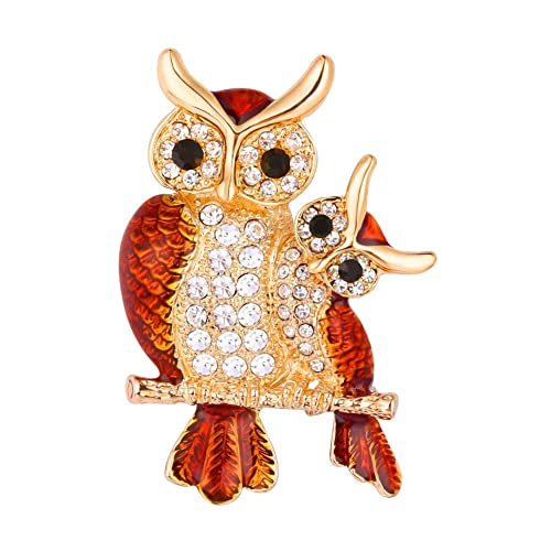 U7 Large Bird Owls Crystal Enamel Brooches Antiques Bouquet Owl Brooch Pin  Scarf Clips Jewelry ( 89c137c5a359