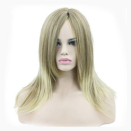 Moolo Peluca Pelucas, Mujeres 60cm Oro Larga Recta del Pelo Recto A Prueba De Calor