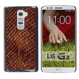 Be Good Phone Accessory // Dura Cáscara cubierta Protectora Caso Carcasa Funda de Protección para LG G2 D800 D802 D802TA D803 VS980 LS980 // Snake Skin Pattern Brown Scales Reptile A