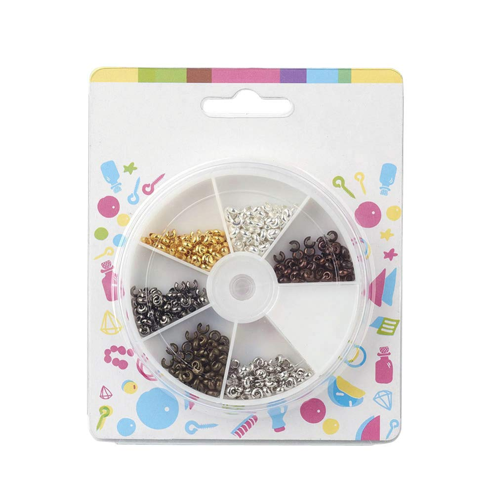 Pandahall 6 Colors 5mm Iron Open Crimp Beads Covers Knot Covers Beads End Tips for Jewelry Makings About 210pcs// Box