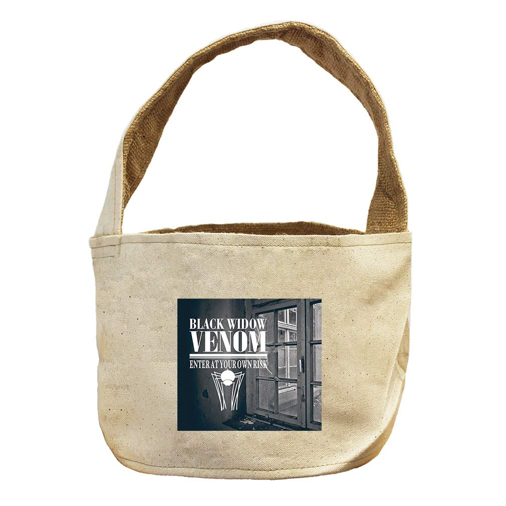 Broken Window of Enter at Your own Risk Canvas and Burlap Storage Basket