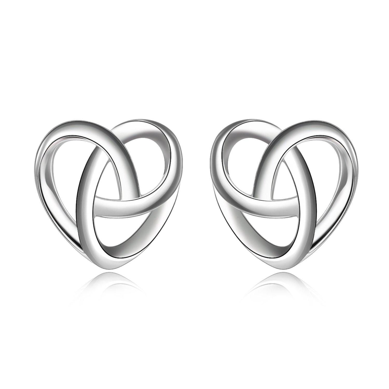 Celtic Knot Stud Earrings 925 Sterling Silver Good Luck Tiny Heart Knot Earrings for Women Girls