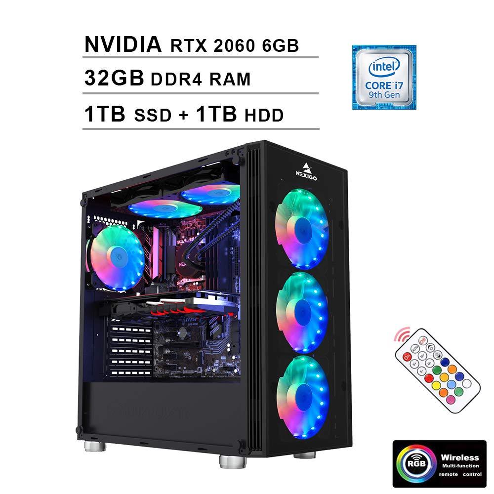 2020 NexiGo Quantum-Flux Liquid Cooled VR Ready RGB Gaming Computer (Intel 8-Core i7-9700K 3.6GHz up to 4.9GHz, NVIDIA RTX 2060 6GB GDDR5, 32GB DDR4 RAM, 1TB SSD (Boot) + 1TB HDD, WiFi, Windows 10)