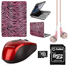 Faux Leather Book Style Folio Protective Cover for Apple Macbook Pro 13.3-inch Laptops + Pink VanGoddy Headphones + Red USB Wireless Mouse + 16GB Memory Card (Pink Zebra)