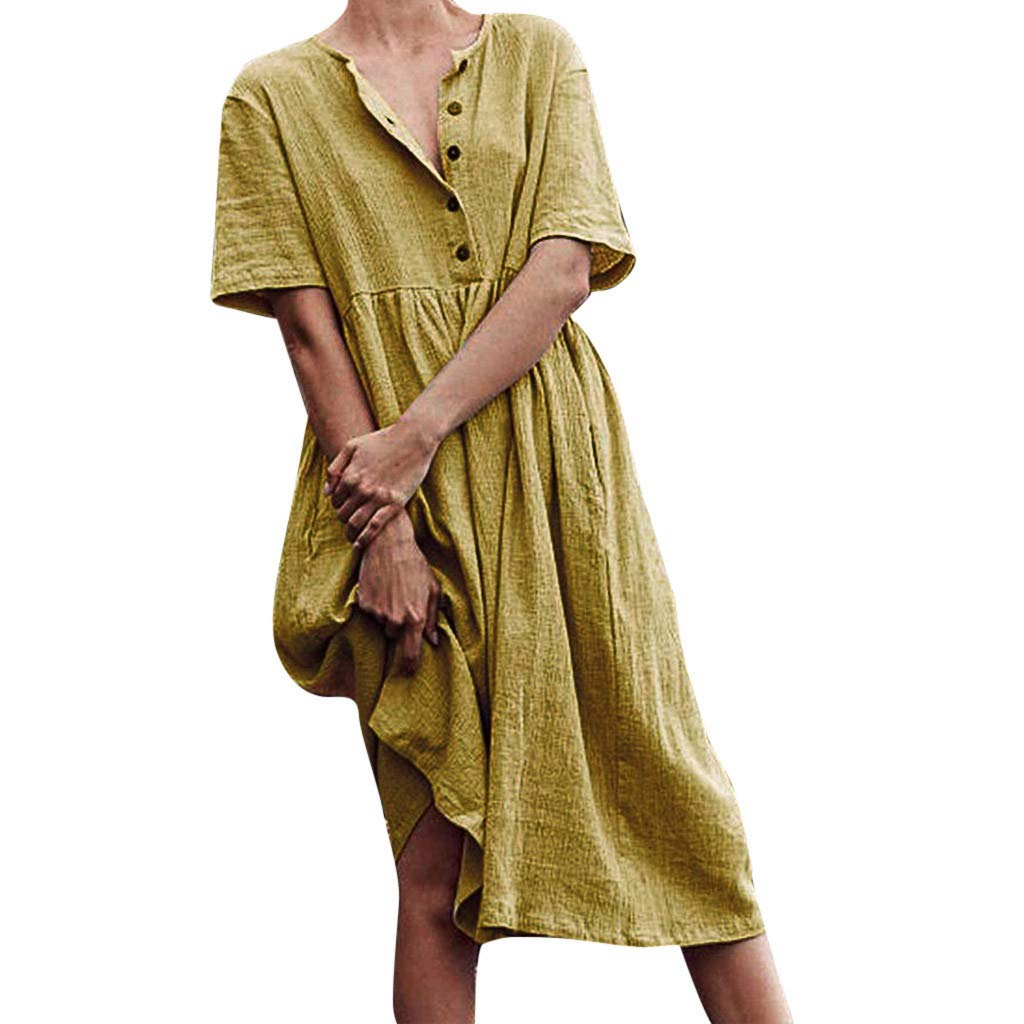 Women O Neck Button Pure Color Short Sleeve Cotton Simple Linen Dress Sleeved Solid Long Round Buttons Yellow
