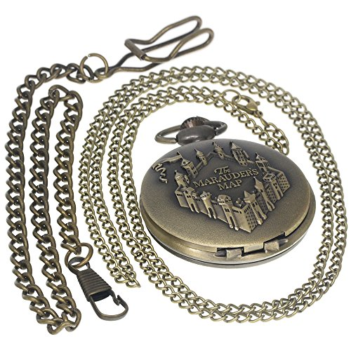 ttern Bronze Brass Quartz Pocket Watch With Pendant Necklace Men Womens Watches Gift 1 PC Necklace 1 PC Clip Key Rib Chain ()