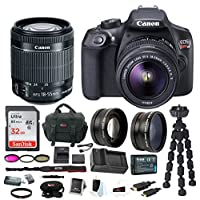 Canon EOS Rebel T6 DSLR Camera w/ EF-S 18-55mm IS II Lens + 32GB SD Card, Extra Battery and Charger, Filter Kit, Wide Angle And Telephoto Lenses & Bundle from Focus Camera