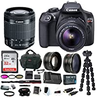 Canon EOS Rebel T6 Digital Camera: 18 Megapixel 1080p HD Video DSLR Bundle With Wide Angle 18-55 MM Lens 32GB SD Card Mini Tripod Filter Kit & Charger - Professional Vlogging Sports & Action Cameras