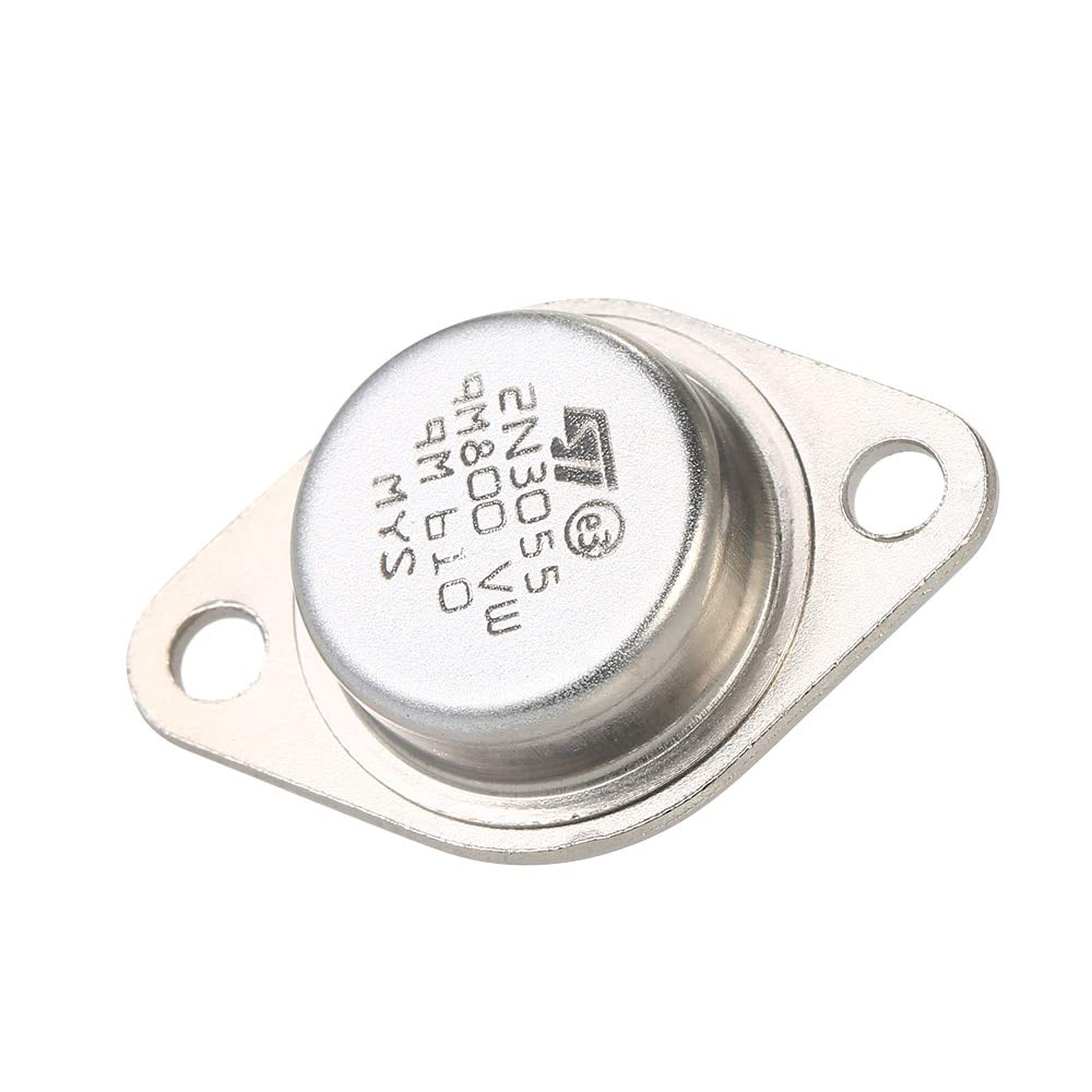 Amzvaso 5pcs 2n3055 Power Transistors Npn To 3 Metal Case 15a 60v Transistor Circuit Stainless Steel