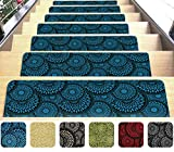 Blue Stair Mats Ultra-Thin with Slip-Resistant Rubber Backing 9x26in 14pcs