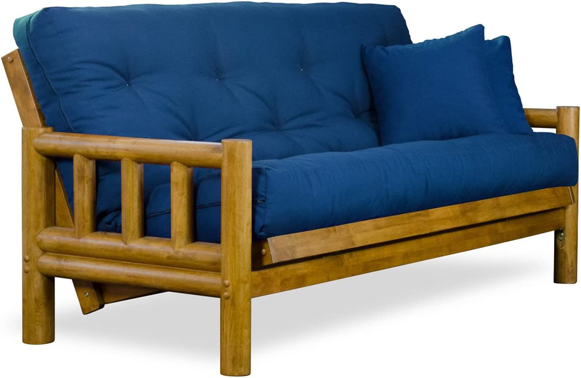 Rustic Tahoe Log Queen Size Wood Futon Frame – Heritage Finish