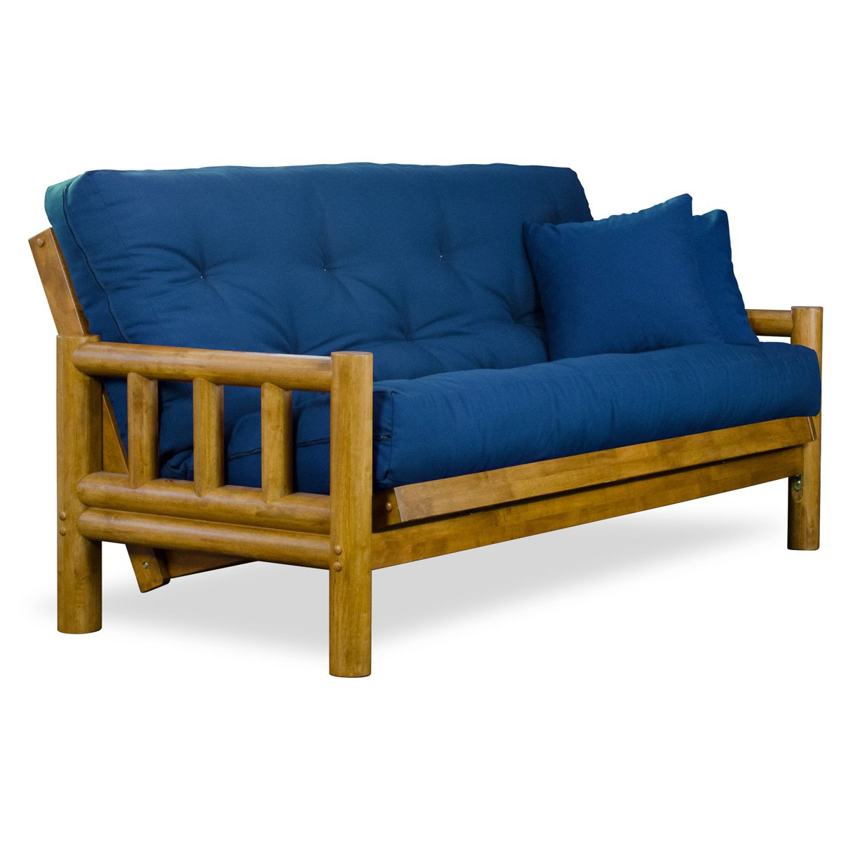 Rustic Tahoe Log Queen Size Wood Futon Frame - Heritage Finish by Nirvana Futons