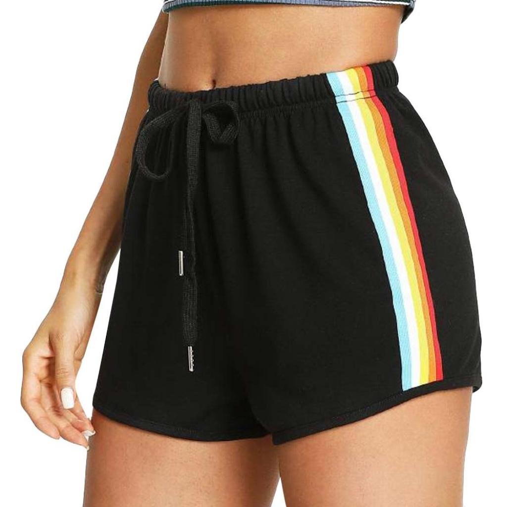 Hmlai Women's Casual Shorts Rainbow Print Elastic Waist Sport Beach Shorts with Drawstring (Black, L)