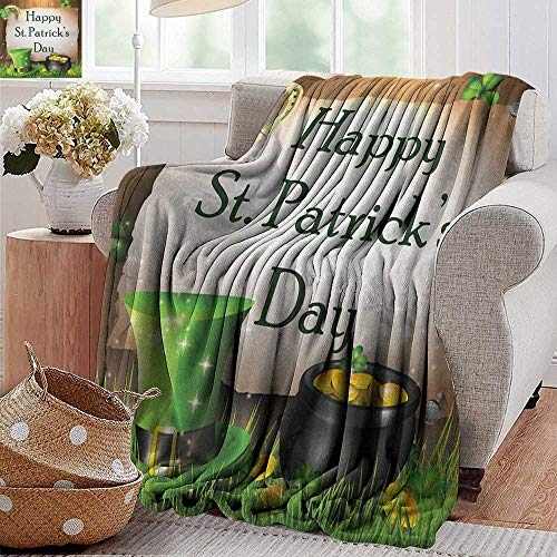 XavieraDoherty Outdoor Blanket,St. Patrick`s Day,Happy Celebration with Text on Wooden Planks Gold and Hat Irish Tradition, Multicolor,Super Soft Faux Fur Plush Decorative Blanket 35