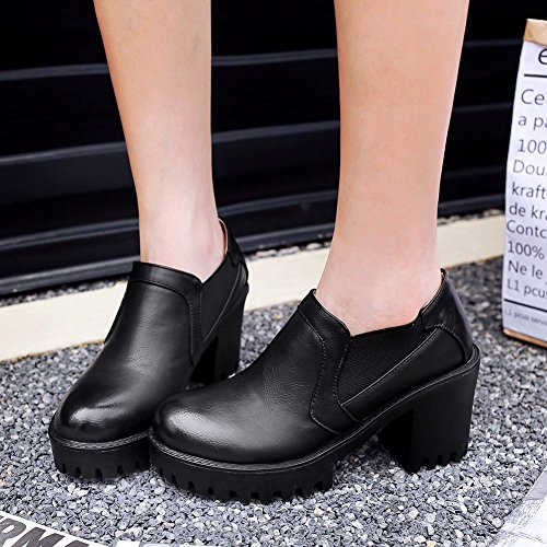 Carolbar Womens Bungee Retro Vintage Platform High Heel Pumps Shoes Black IpYkseA