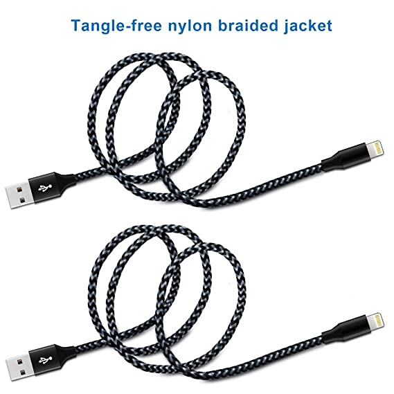 Amazon Com Nylon Braided Lightning Cable Etech 2 Pack 3ft