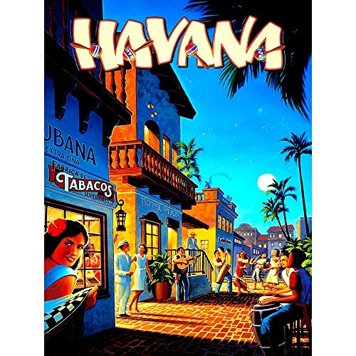 Wee Blue Coo Travel Tourism Havana Cuba Street Scene Music Dance Bongo Palm Moon Unframed Wall Art Print Poster Home Decor Premium