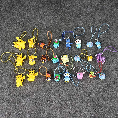 Pitaya. 8Pcs/Lot Eevee Horsea Psyduck Lapras PVC Figure Toys Keychain Keyring Mobilephone Straps Pendant -Complete Series Merchandise
