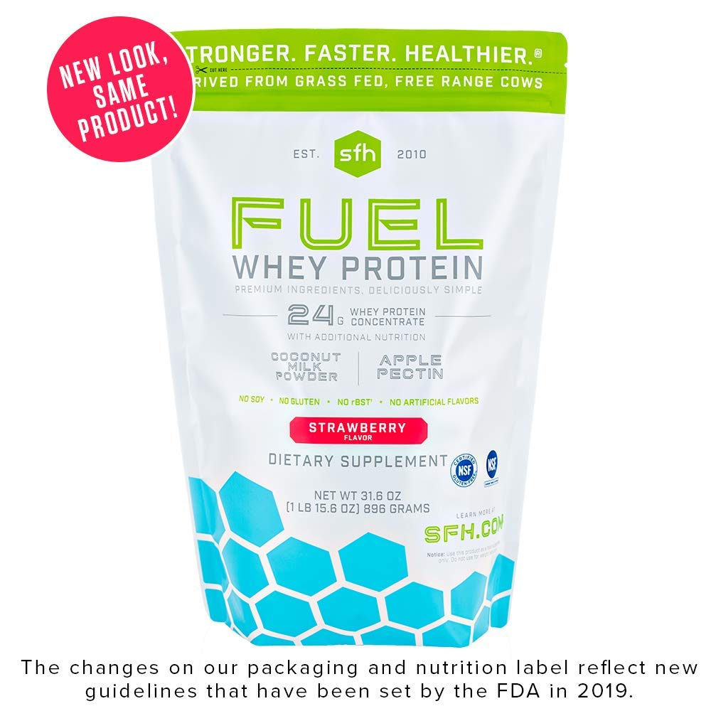 Fuel Whey Protein Powder (Strawberry) by SFH | Great Tasting Grass Fed Whey | MCT & Fiber for Energy | All Natural Soy Free, Gluten Free, No RBST, No Artificial Flavor | 28 Servings (2 lb Bag) by SFH