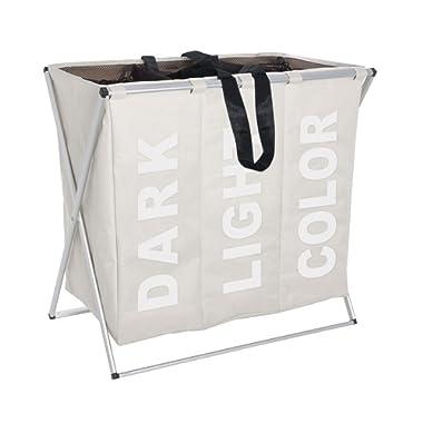 Folding Laundry Washing Basket Bag 3 Section Foldable Fabric Laundry Hamper Sorter 130 L Capacity Polyester 63 x 57 x 38cm