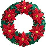 Bucilla 86827 Poinsetta Wreath Wallhanging Kit