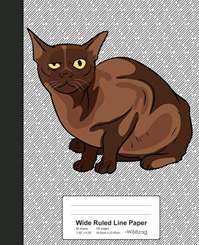 Wide Ruled Line Paper: Book Burmese Cat (Cats)