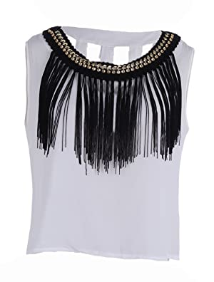 Anna-Kaci S/M Fit White Peek A Boo Cut Outs Black Fringe Trim Gold Chain Top