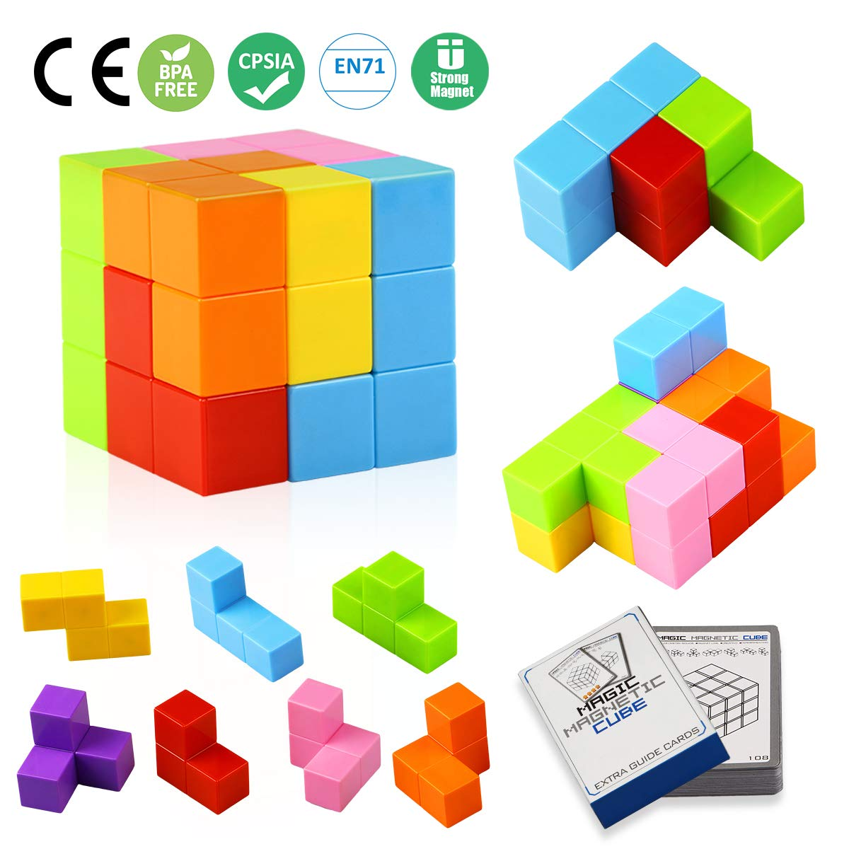 Magnetic Tiles for Kids Educational Toys Stress Relief Toy Games Square Magnets Cube Develops Intelligence Aitey Magnetic Building Blocks
