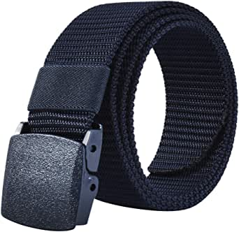 JY_shop Mens Belt Nylon Webbing Canvas Outdoor Web Belt with Automatic Click Buckle Can Pruning Enclosed in an Elegant Gift Box-Blue