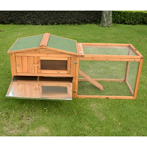 Pawhut 62 outdoor guinea pig pet house rabbit hutch for Free guinea pig hutch