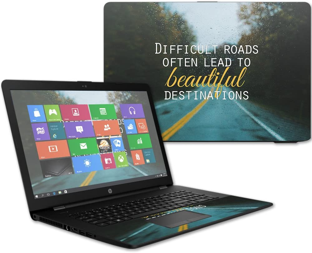 """MightySkins Skin Compatible with HP 17t Laptop 17.3"""" (2017) - Difficult Roads   Protective, Durable, and Unique Vinyl Decal wrap Cover   Easy to Apply, Remove, and Change Styles   Made in The USA"""