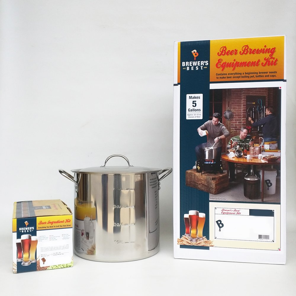 Brewer's Best Equipment Kit with India Pale Ale Beer Ingredient Kit and 20 Qt Stainless Steel Brew Kettle