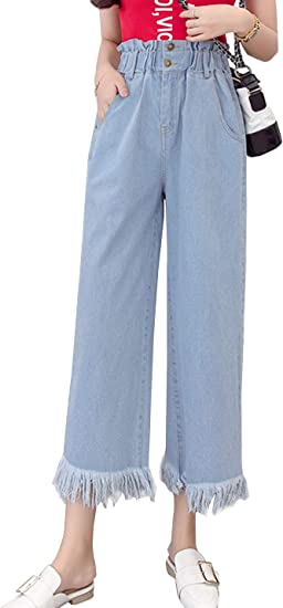 Women Casual Elastic High Waist Denim Tassel Wide Leg Pants Jeans Crop Trousers