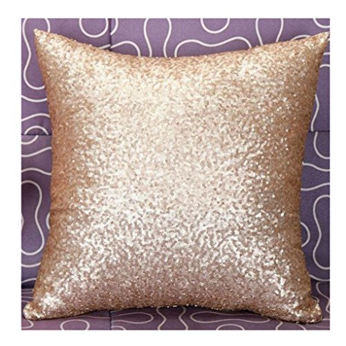 Glitter Sequins Throw Pillow Case, Keepfit Solid Pillow Cover Bling Cushion Covers Cafe Home Decoration (Gold)