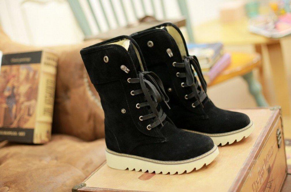 XAI Botas de Mujer Botas de Felpa de Cuero de Tacón Bajo Botas de Nieve Zapatos de Mujer de Gran Tamaño,Negro,41 41