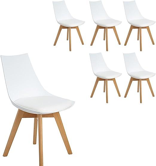 HJ WeDoo 6er Set Retro Design Stuhl Esszimmerstühle Wohnzimmerstühl mit Bequem Gepolstertem Sitz, Weiß