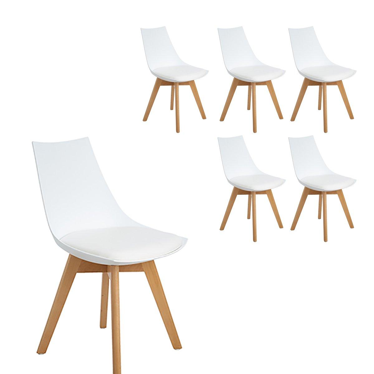 H.J WeDoo 6er Set Retro Design Stuhl Esszimmerstühle Wohnzimmerstühl mit Bequem Gepolstertem Sitz, Weiß