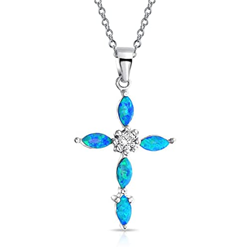 Religious CZ Marquise Created Blue Opal Cross Pendant Necklace For Women For Teen 925 Sterling Silver October Birthstone